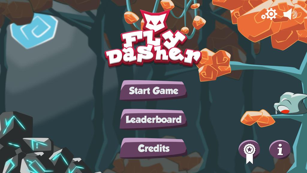 Ecran d'accueil du jeu Fly Dasher